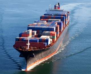 work Asian shipping boat and