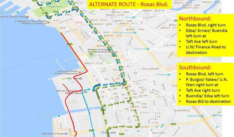 Some PH Metro Roads To Undergo Rerouting Due To ASEAN Summit - Roxas map