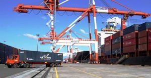 A trailer truck hauls off a container from MVJakarta Tower, a vessel chartered by the Nippon Yusen Kaisha (NYK) Line for its first ad hoc call at the Port of Subic. MV Jakarta Tower, which will be used exclusively for NYK bookings, arrived at Subic's New Container Terminal on November 23. Photo courtesy of Subic Bay Metropolitan Authority.
