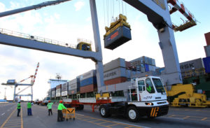 Containers being unloaded at the Batangas port. Photo courtesy of Asian Terminals Inc.