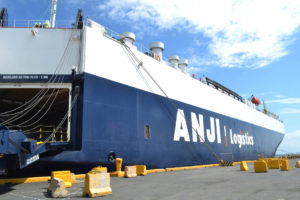 the 1,500-car-capacity vessel Anji 11 berthed at the Manila South Harbor on August 24 to discharge 76 trucks. The following day, it unloaded 176 Chevrolet vehicles at Batangas port before heading back to China.