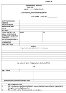 Sample of Cargo Entry/Withdrawal Permit